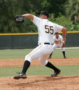 Jon Sandfort has started the season with seven shutout innings, allowing two hits, no walks, and striking out nine.