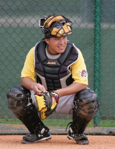 Jin-De Jhang is a potential two-way catching prospect.