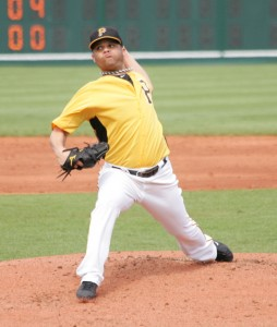 Wandy Rodriguez in the third inning of today's game at McKechnie.