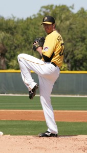Jeff Karstens felt pain in his right shoulder while rehabbing on Friday.