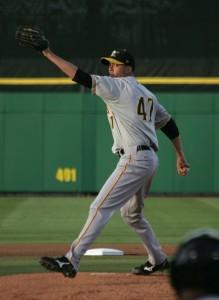 Jeff Karstens threw three innings in Bradenton tonight.