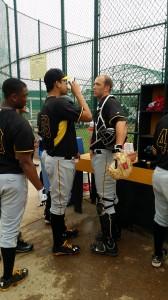 Luis Heredia talking to his catcher, Jacob Stallings between innings.